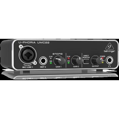 BEHRINGER UMC22 UMC-22 U-PHORIA Audiophile 2x2 USB Audio Interface with Midas Mic Preamplifier