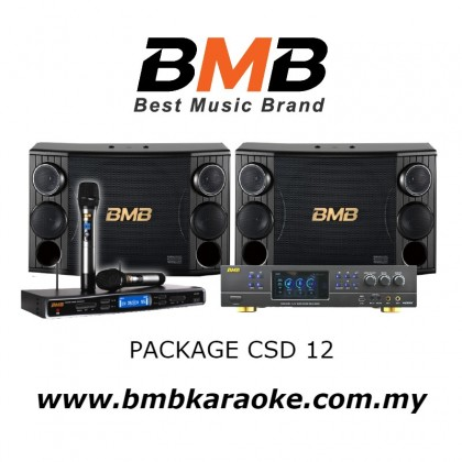 BMB PACKAGE CSD 12, BMB Karaoke System Package Consisting of DAR-350H Amplifier x 1 unit, CSD-2000 Speakers x 1 pair, WB5000S Wireless Microphone System x 1 set c/w 2 nos Handheld Microphone