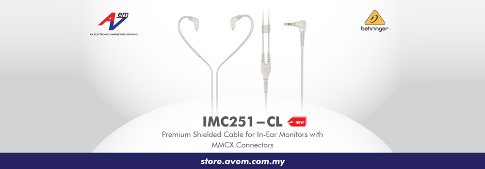 BEHRINGER IMC251-CL Premium Shielded Cable For In-Ear Monitors With MMCX Connectors